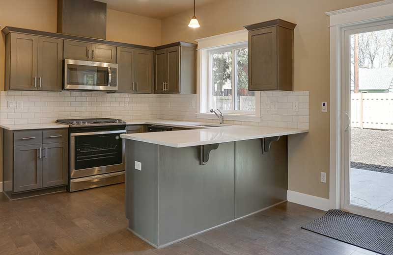 interior gray kitchen cabinets